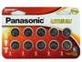 Panasonic CR2025 165mAh 3V Lithium (LiMnO2) Coin Cell Battery - 10 Piece Wide Size Carded Packaging