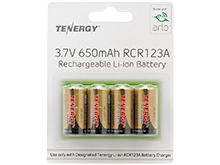 Tenergy 34153 RCR123A / 16340 650mAh 3.7V Lithium Ion (Li-ion) Rechargeable Button-Top Batteries for the Arlo Camera System - 4-Pack Retail Card
