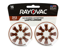 Rayovac 312-16 (16PK) Size 312 180mAh 1.45V Zinc Air Brown Hearing Aid Batteries - 16 Piece Retail Card