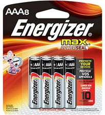 Energizer Max E92-MP-8 AAA 1.5V Alkaline Button Top Batteries - 8 Piece Retail Card