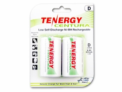Tenergy Centura LSD 10107 D-cell 8000mAh 1.2V Nickel Metal Hydride (NiMH) Button Top Batteries - 2 Piece Retail Card