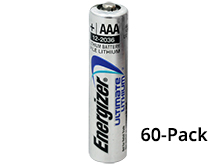 Energizer Ultimate L92 (60PK) AAA 1250mAh 1.5V High Energy 1.5A Lithium (LiFeS2) Button Top Batteries - Box of 60