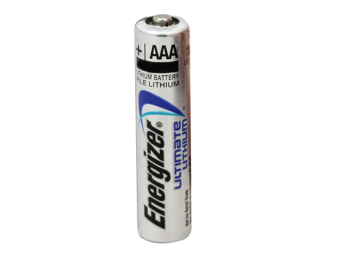 Single Energizer L92 lithium AAA cell upright