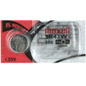 Maxell SR43W 386 125mAh 1.55V Silver Oxide Button Cell Battery - Hologram Packaging - 1 Piece Tear Strip, Sold Individually