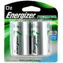 Energizer Recharge NH50-BP-2 D-cell 2500mAh 1.2V Nickel Metal Hydride (NiMH) Button Top Batteries - 2 Piece Retail Card