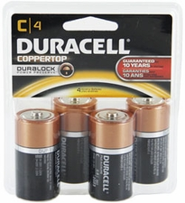 Duracell Coppertop Duralock MN1400-R4 C-cell 1.5V Alkaline Button Top Batteries - 4 Piece Clam Shell