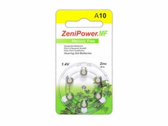 ZeniPower MF10 (6PK) Size 10 95mAh 1.45V Zinc Air Yellow Hearing Aid Batteries - 6-Pack Retail Card
