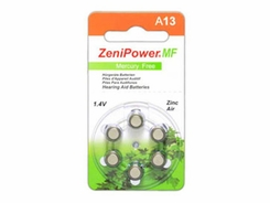 ZeniPower MF13 (6PK) Size 13 280mAh 1.45V Zinc Air Orange Hearing Aid Batteries - 6-Pack Retail Card