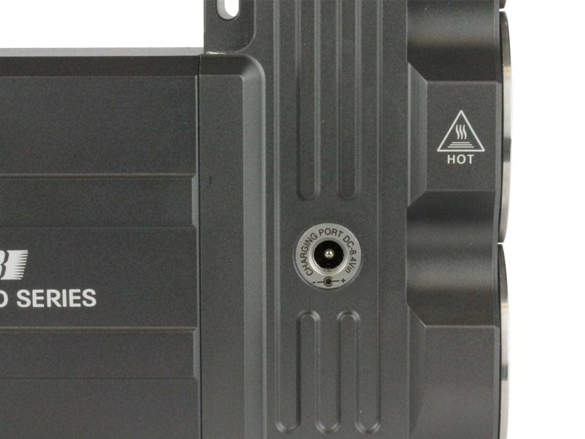 Close up of charging port for JETBeam T8 searchlight