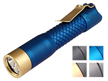 MecArmy PS14 Ti Titanium Neutral, Cool White Dual Color EDC Flashlight - 2 x CREE XPL-HD LEDs - 1200 Lumens - Uses 1 x 14500 (Included) or 1 x AA - Black, Black and Gold, Blue, Blue and Gold, or Sandblasted