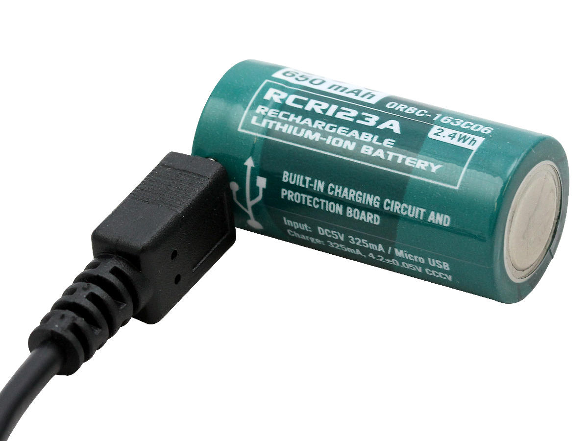 Included Micro-USB Rechargeable RCR123A Battery Recharging