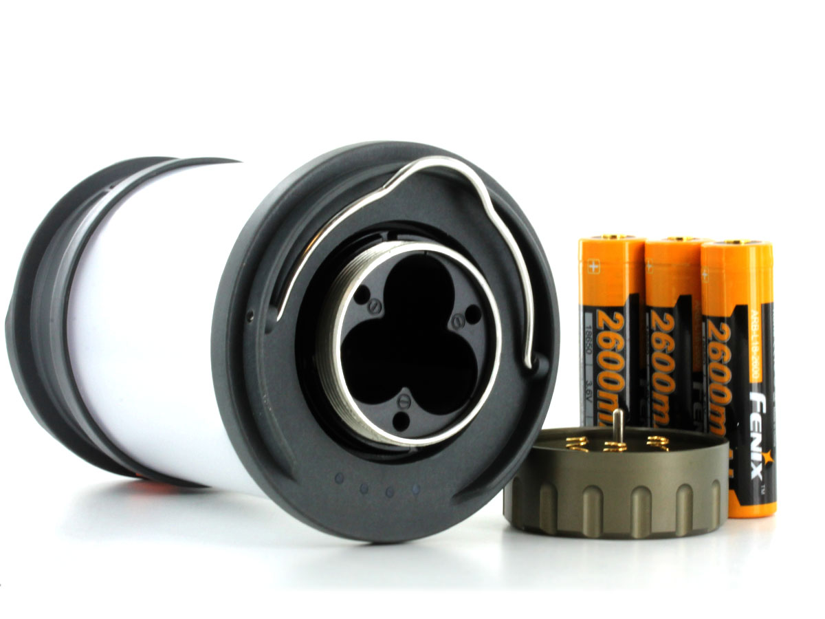 Bottom view of Fenix CL30R lantern with batteries