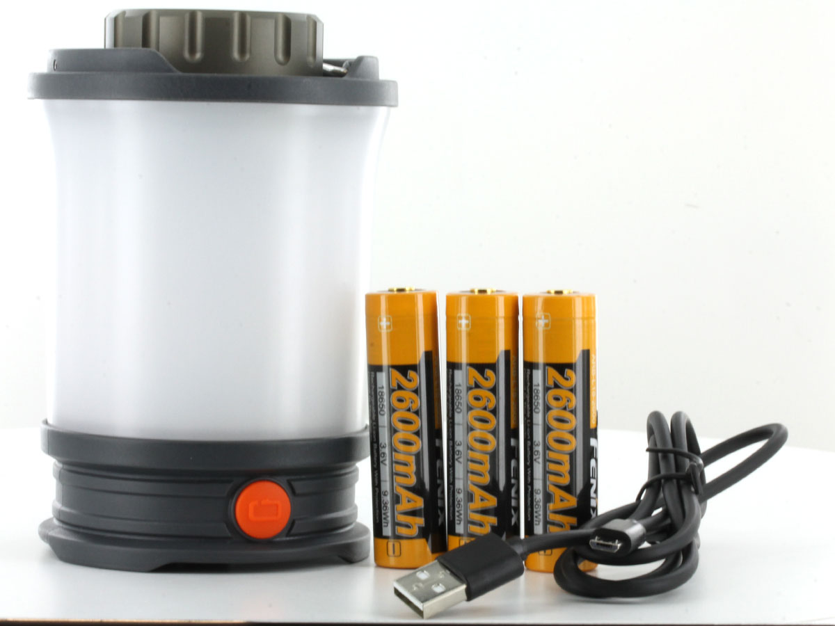 Fenix CL30R lantern upright with batteries and charging cable