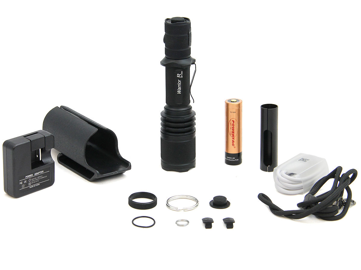 Accessory Shot of the Powertac Warrior G3R Rechargeable LED Flashlight