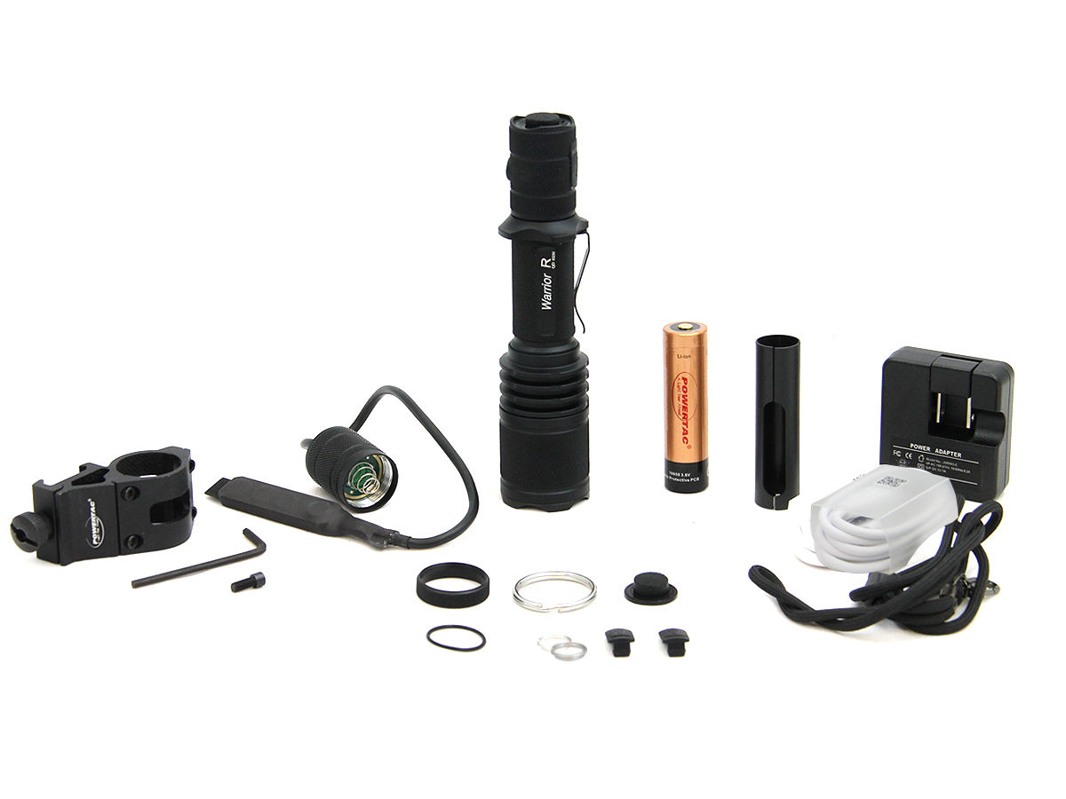 Accessory Shot of the Powertac Warrior G3R Rechargeable LED Flashlight Weapon Kit