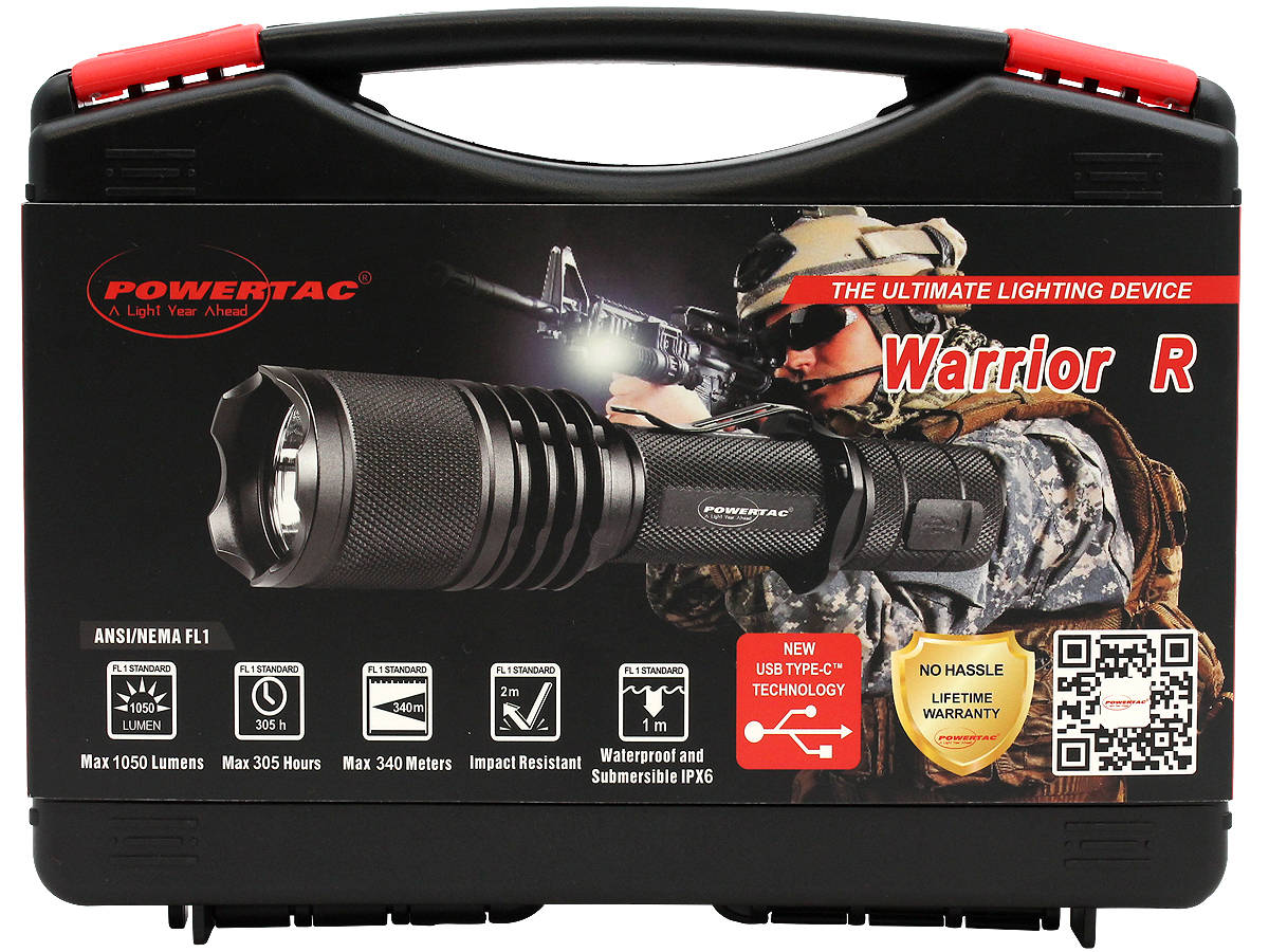 Case Shot of the Powertac Warrior G3R Rechargeable LED Flashlight