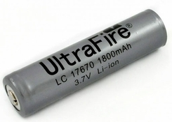 UltraFire UF 17670 1800mAh 3.7V Protected Lithium Ion (Li-ion) Button Top Battery - Bulk