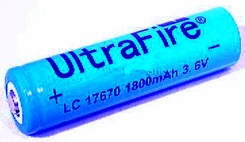 UltraFire UF 17670 1800mAh 3.7V Unprotected Lithium Ion (Li-ion) Button Top Battery - Bulk