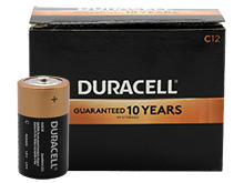 Duracell Coppertop Duralock MN1400 (12PK) C-cell 1.5V Alkaline Batteries (MN1400BKD) - Made in the USA - Box of 12