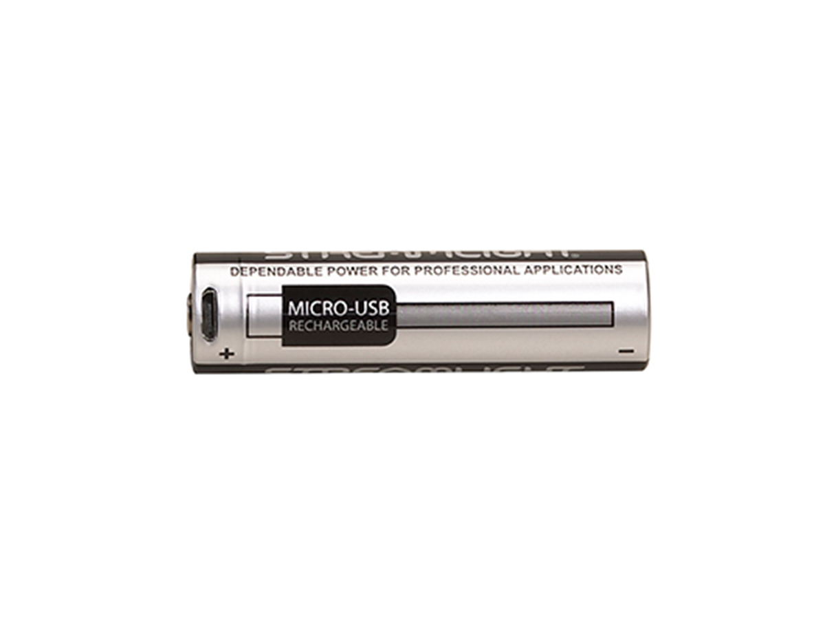 Streamlight 18650 Protected Li-Ion Button Top Battery horizontal with USB port showing