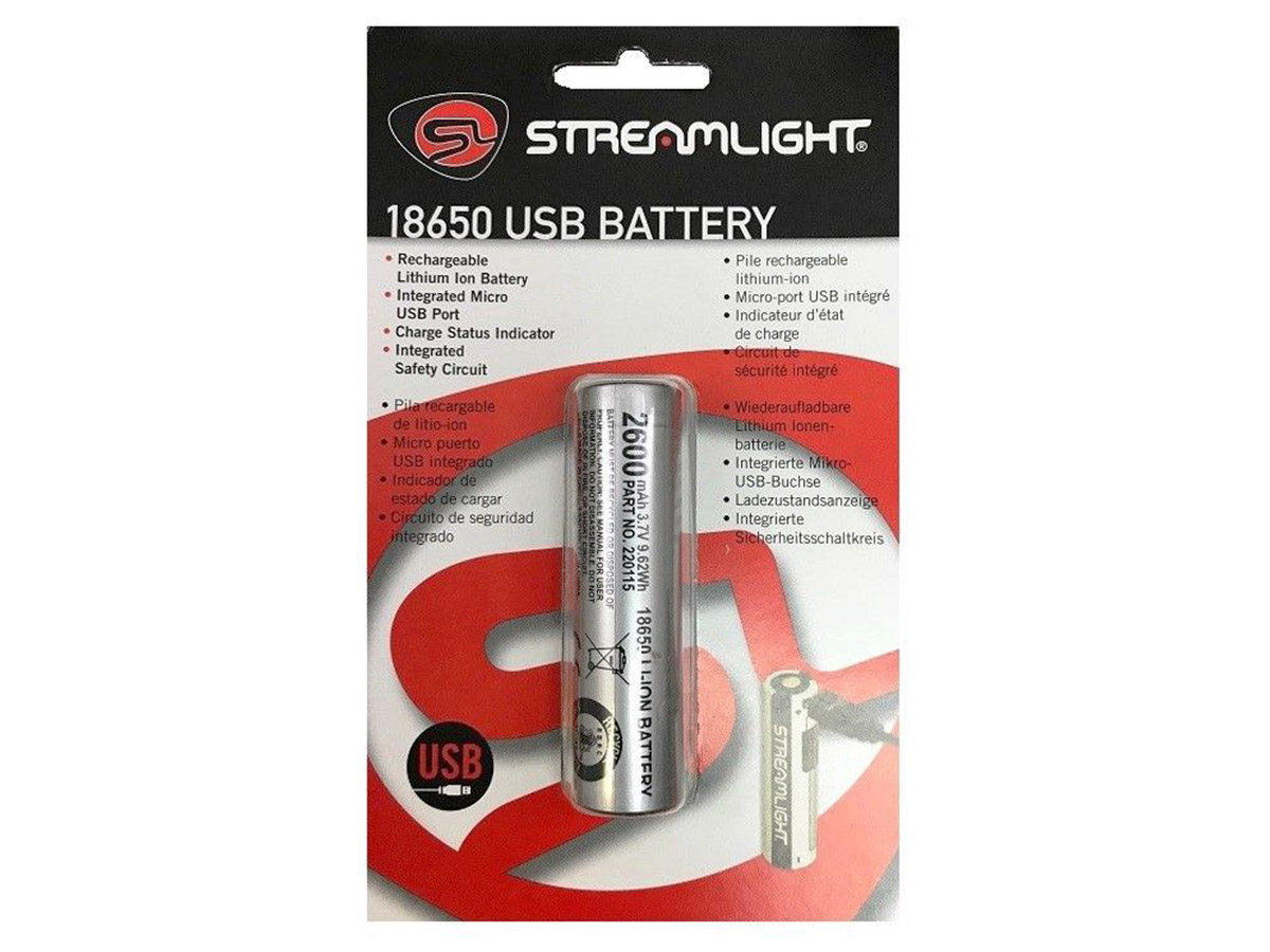 Streamlight 18650 Protected Li-Ion Button Top Battery retail package shot