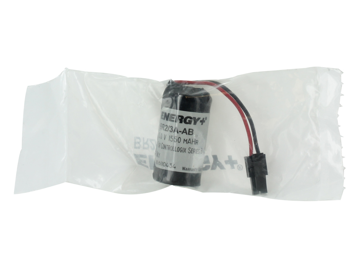 Energy+ battery pack  with wire leads connector in heat sealed bag front view