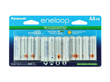 Panasonic Eneloop AA 2000mAh 1.2V Low Self Discharge Nickel Metal Hydride (NiMH) Button Top Batteries - 16 Pack Retail Card (BK-3MCCA16FA-16AA)