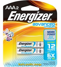 Energizer Advanced EA92-BP-2 AAA 1250mAh 1.5V Lithium Iron (LiFeS2) Button Top Batteries - 2 Pack Retail Card
