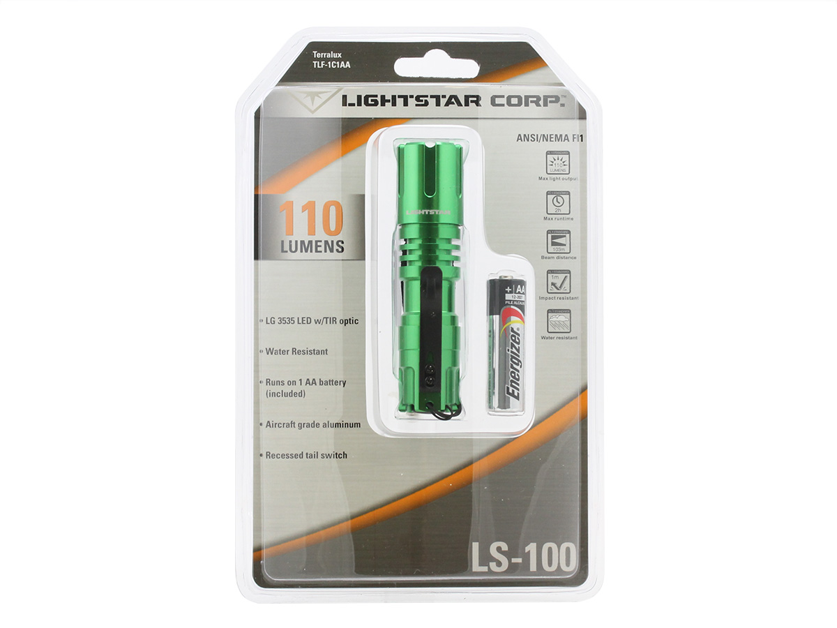 Packaging for green TerraLux TLF-1C1AA flashlight