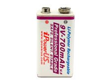 Ipower IP 9V 700mAh 7.4V Protected Lithium Polymer (LiCoO2) Battery with Snap Connectors - Sold Individually