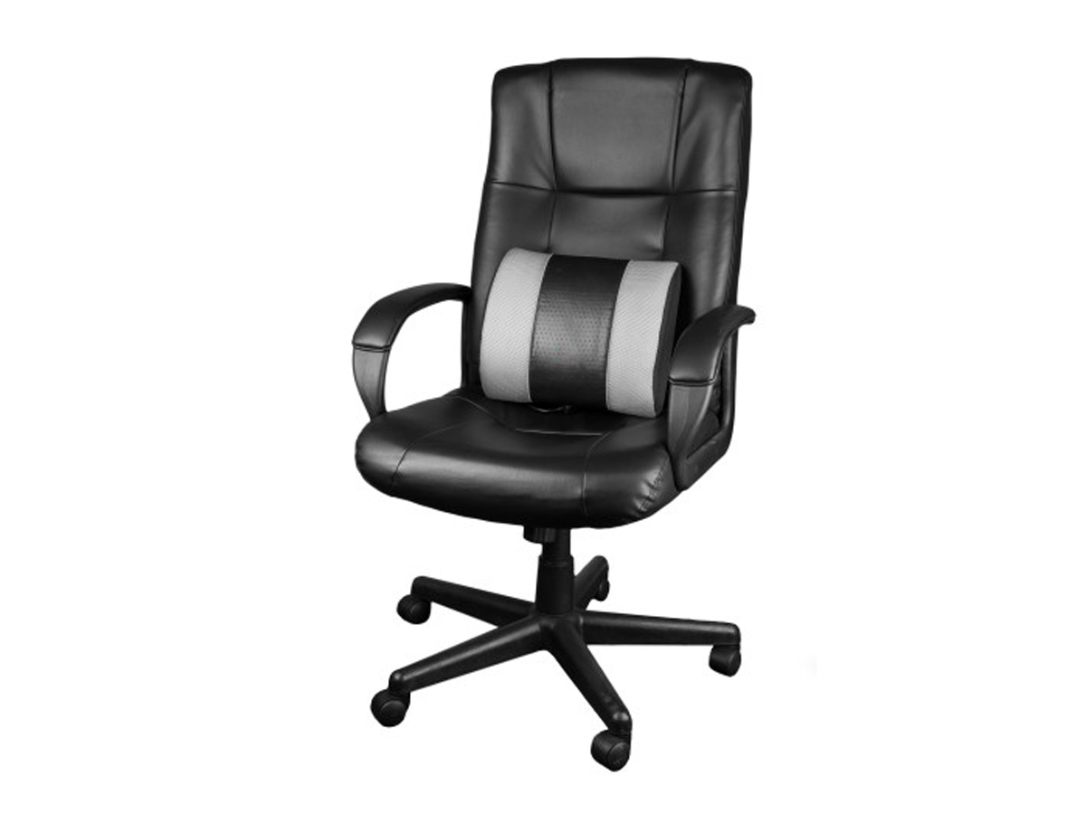 HealthMate WAGAN TECH Heated Massage Lumbar Cushion being used in an office desk chair