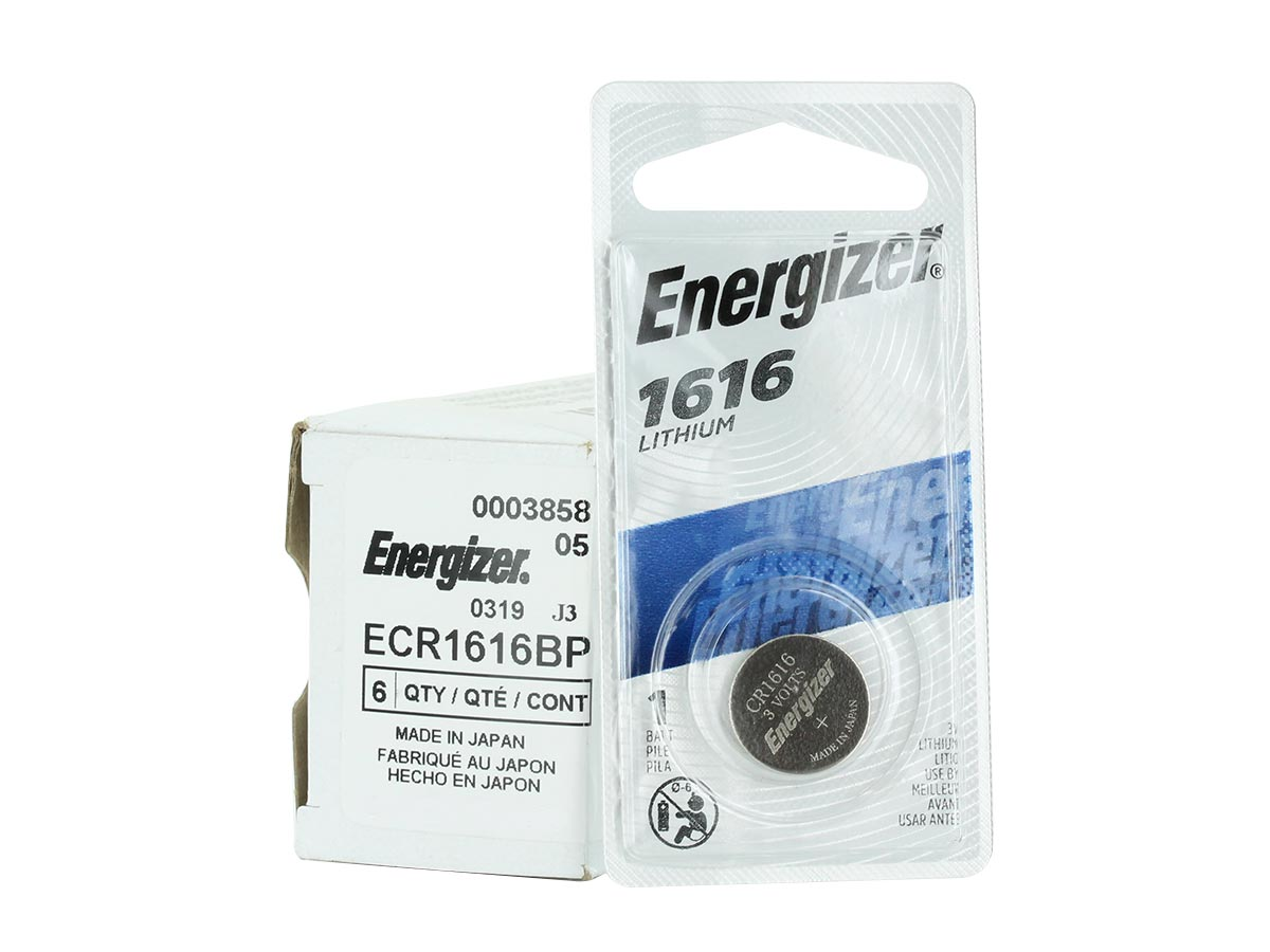Energizer ECR1616-BP Lithium Coin Cell Battery Blister pack and 6 piece bulk box next to the 1 piece