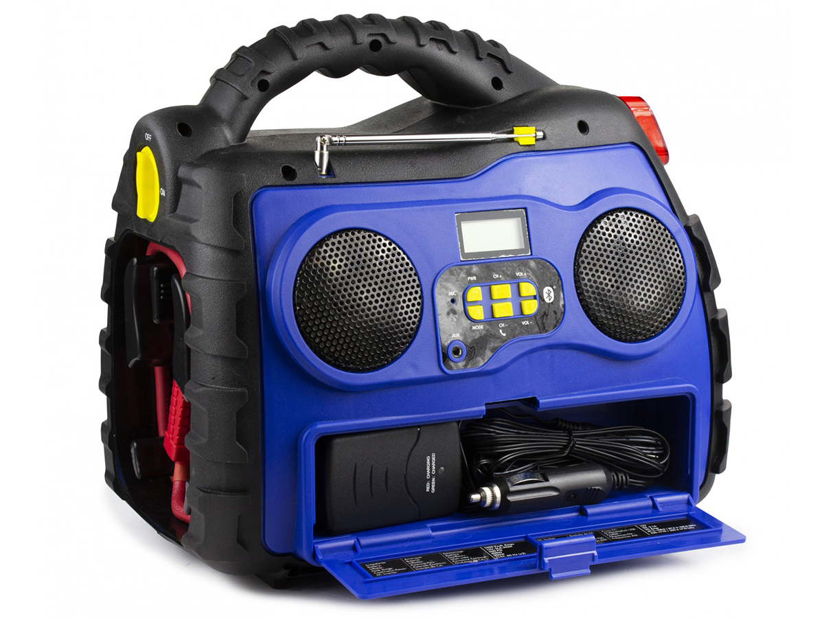 Michelin Multi-Function Portable Power Source front side angle with compartment open