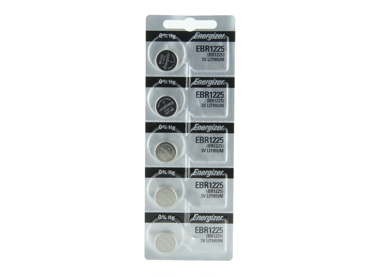 Set of 5 Energizer EBR1225 coin cells in tear strip packaging