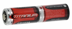 Titanium Innovations CR123A (2PK) 1400mAh 3V 3A Lithium Primary (LiMNO2) Button Top Photo Batteries -  Shrink Wrapped Double Pack (6V) - Bulk
