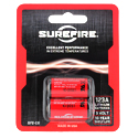 SureFire SF2-CB SF123A CR123A 1550mAh 3V Lithium Primary (LiMNO2) Button Top Batteries - 2 Pack Retail Card