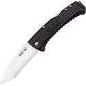 SOG Traction Folding Knife - 3.5-inch Straight Edge, Tanto - Satin Finish - Black Handle - Clam Pack (TD1012-CP)