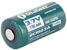 Olight ORB-163P06 RCR123A / 16340 650mAh 3.7V Protected Lithium Ion (Li-ion) Button Top Battery - Retail Card