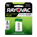 Rayovac Rechargeable Plus PL1604-1 200mAh 9V Nickel Metal Hydride (NiMH) Battery with Snap Connectors - 1 Piece Retail Card