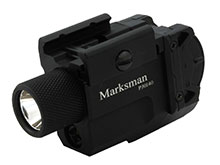 Powertac Marksman LED Pistol Light with Green Laser - Picatinny Rail - CREE XM-L2 LED - 600 Lumens - Uses 1 x CR123A or 1 x 16340
