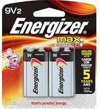 Energizer Max 522-BP-2 9V Alkaline Battery with Snap Connector - 2 Piece Retail Card