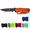 Ultimate Survival Technologies SaberCut Para Knife 3.0 Fixed Blade Knife - 3-inch Partially Serrated Edge - Paracord-Wrapped - Available in Blue, Fuchsia, Lime, Black, and Glow in the Dark