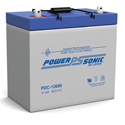 Power-Sonic AGM Deep Cycle PDC-12600 60Ah 12V Rechargeable Sealed Lead Acid (SLA) Battery - T9/U Terminal