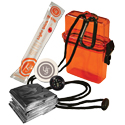 Ultimate Survival Technologies Watertight Survival Kit 1.0 Storage Case for Emergencies - Includes Blanket, Towel, Light Stick and Compass - Orange (20-727-01)