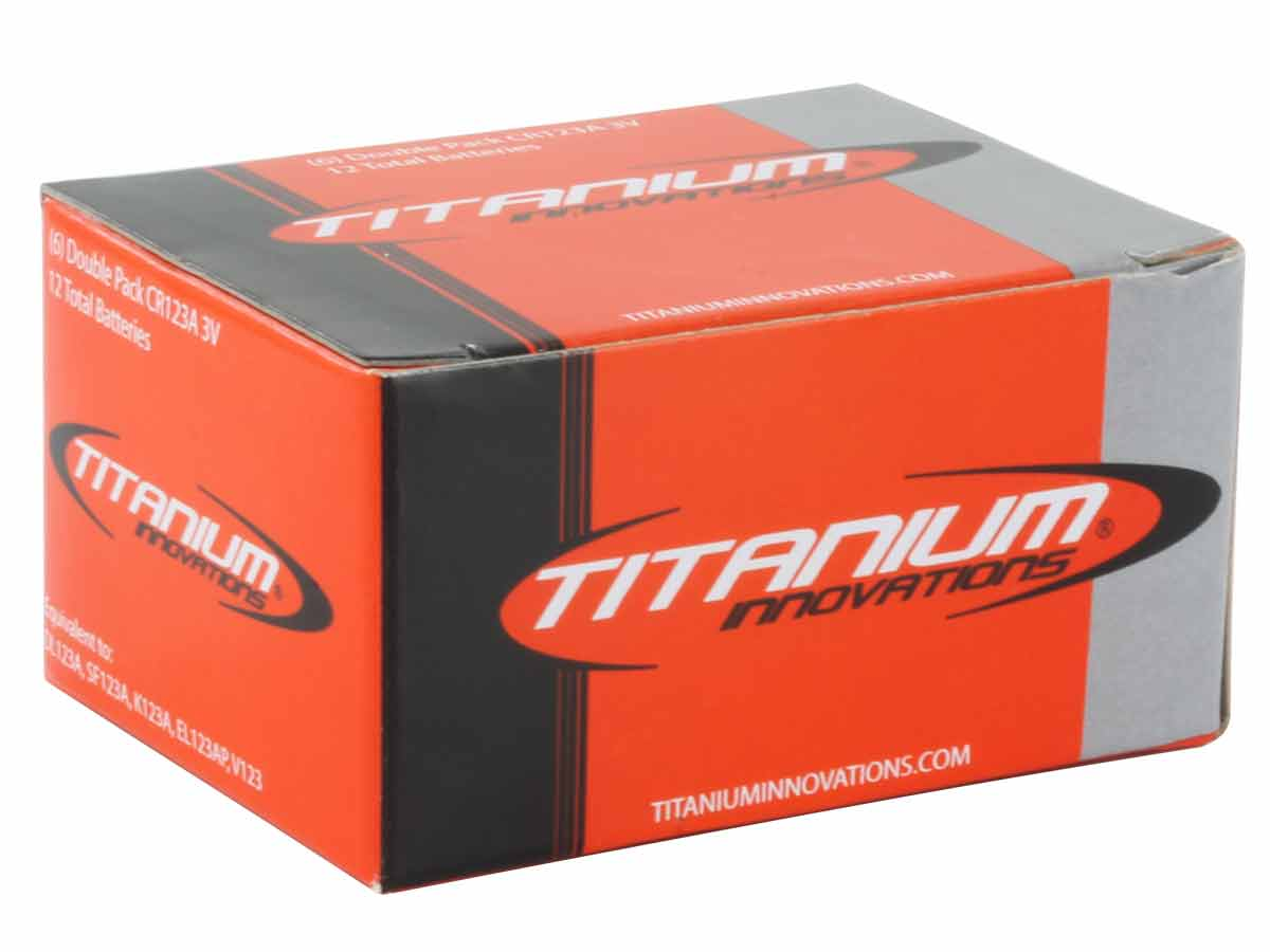 Titanium CR123A 3V Lithium Battery - 12 Pack Closed Box