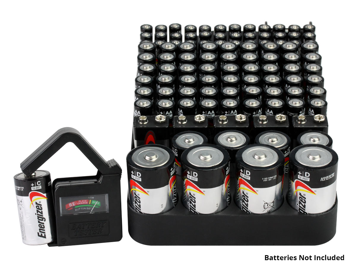 Battery Organizer with Battery Tester in Use