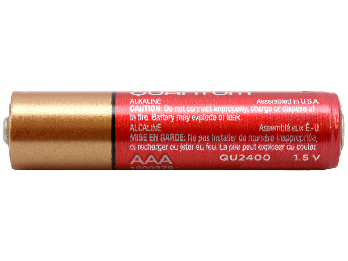 Side view of a Duracell Quantum AAA battery