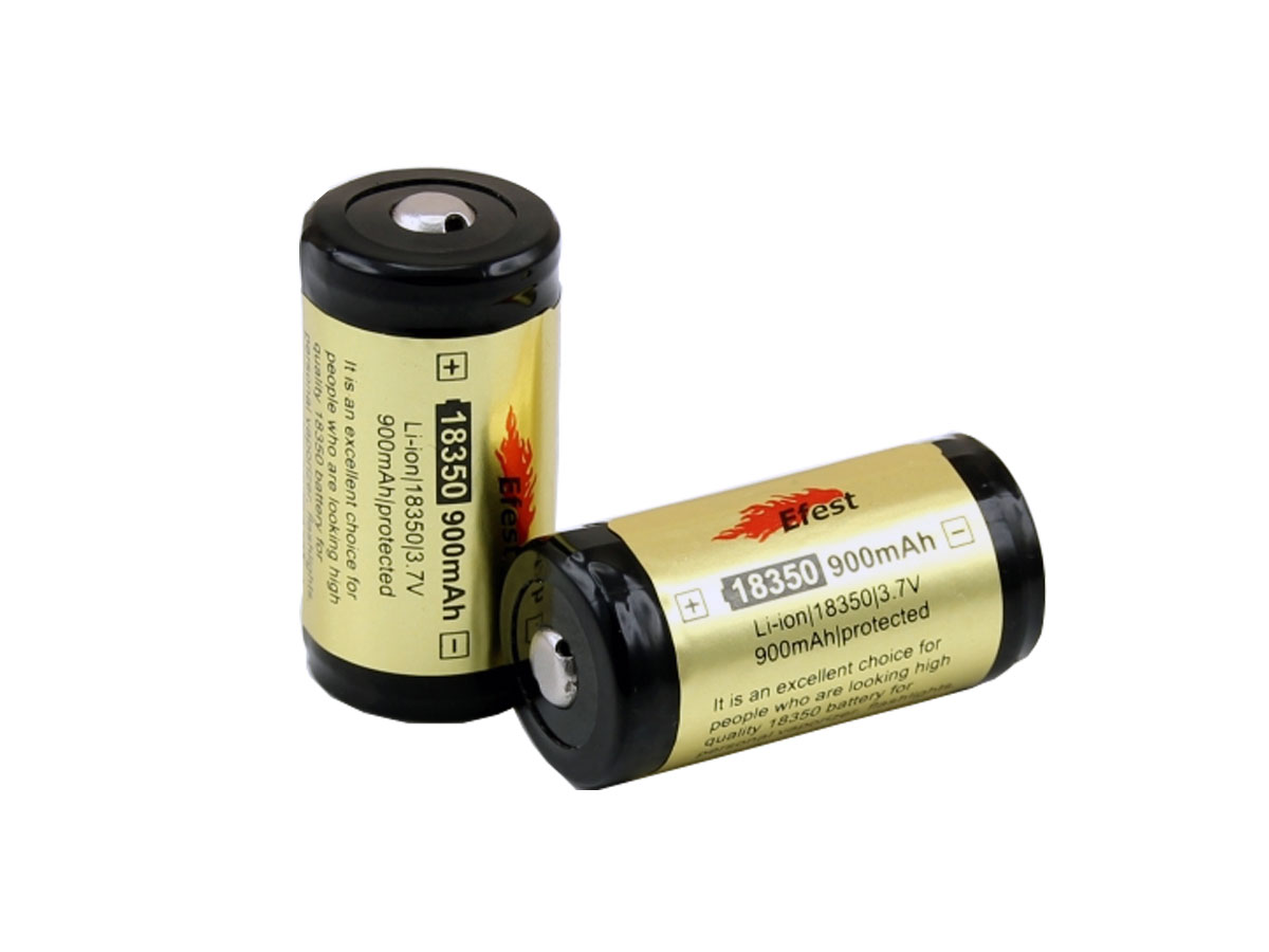 Efest 3400 18350 protected button top battery upright and side profile