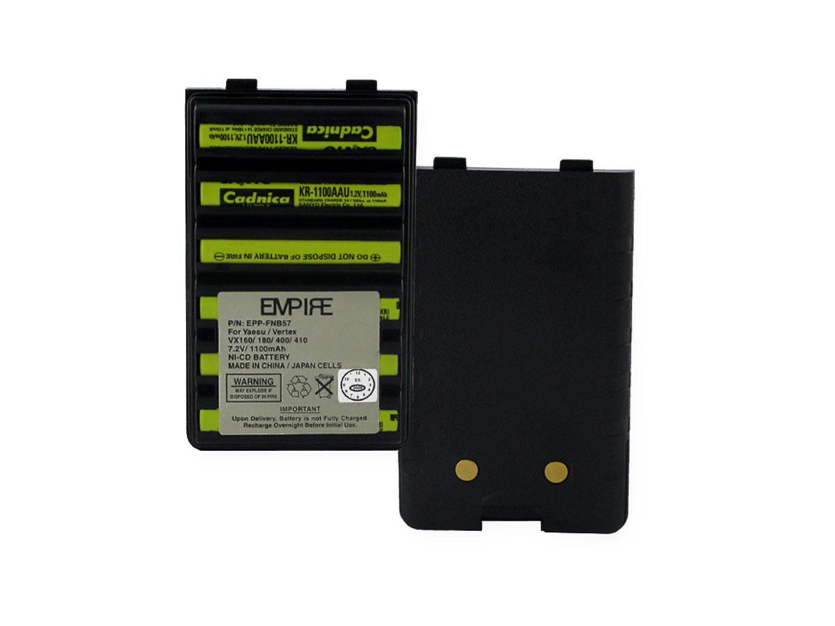 Empire 7.2V NiCd Battery Pack front and back upright views