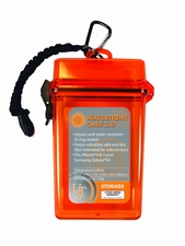 Ultimate Survival Technologies Watertight Case 2.0 Container - 5.5 x 3.2 x 1.25-inch Plastic Storage Case with Lanyard and Carabiner - Orange (20-285543-08)